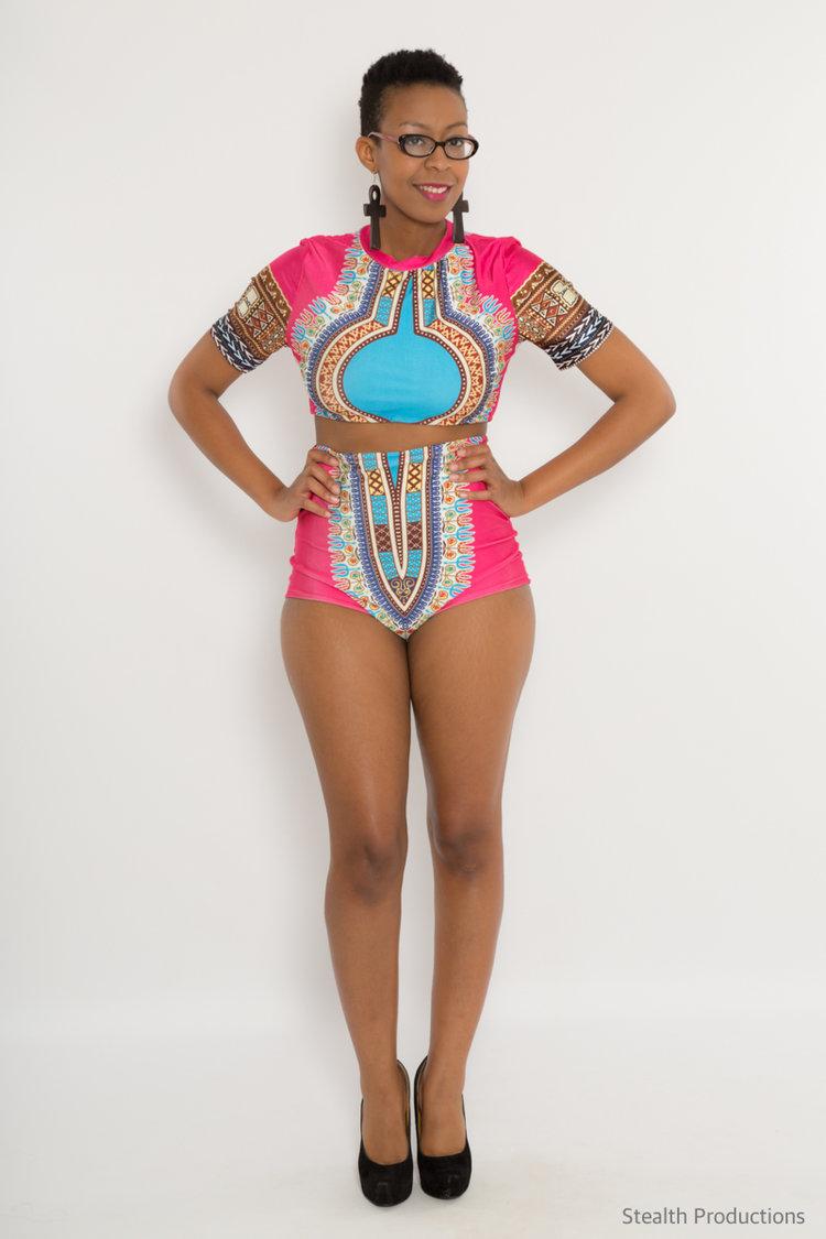 fb6731cdb2 Pink Turquoise Dashiki Shirt Sleeves Rashguard Bikini Top — Danalia ...