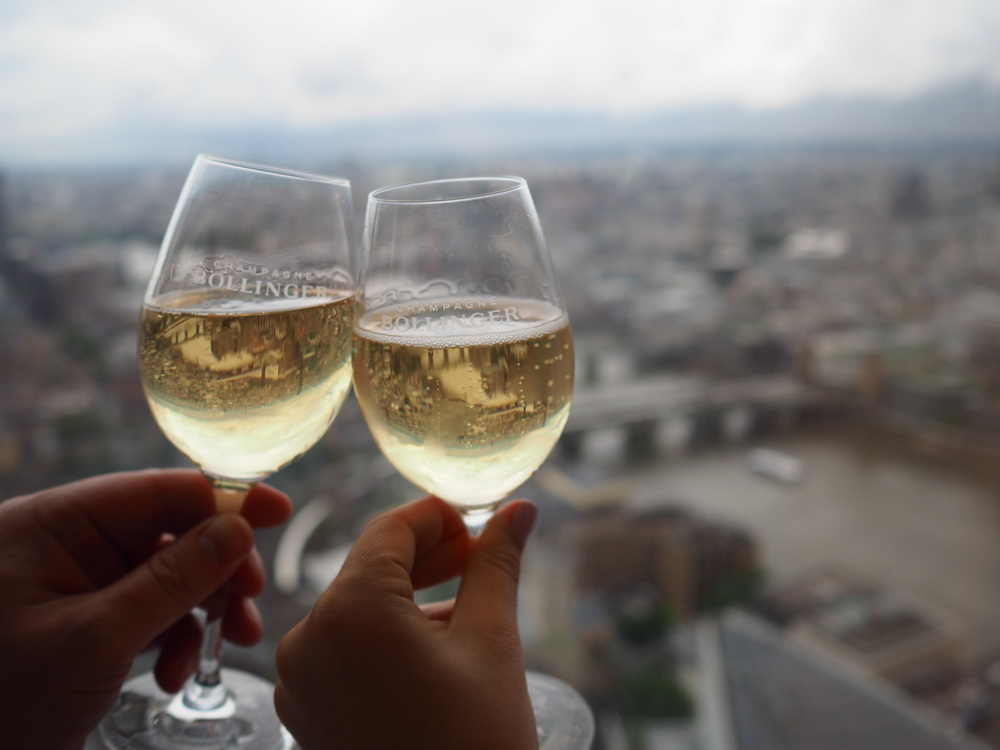 Toasting London from our Suite at Shangri-La at The Shard