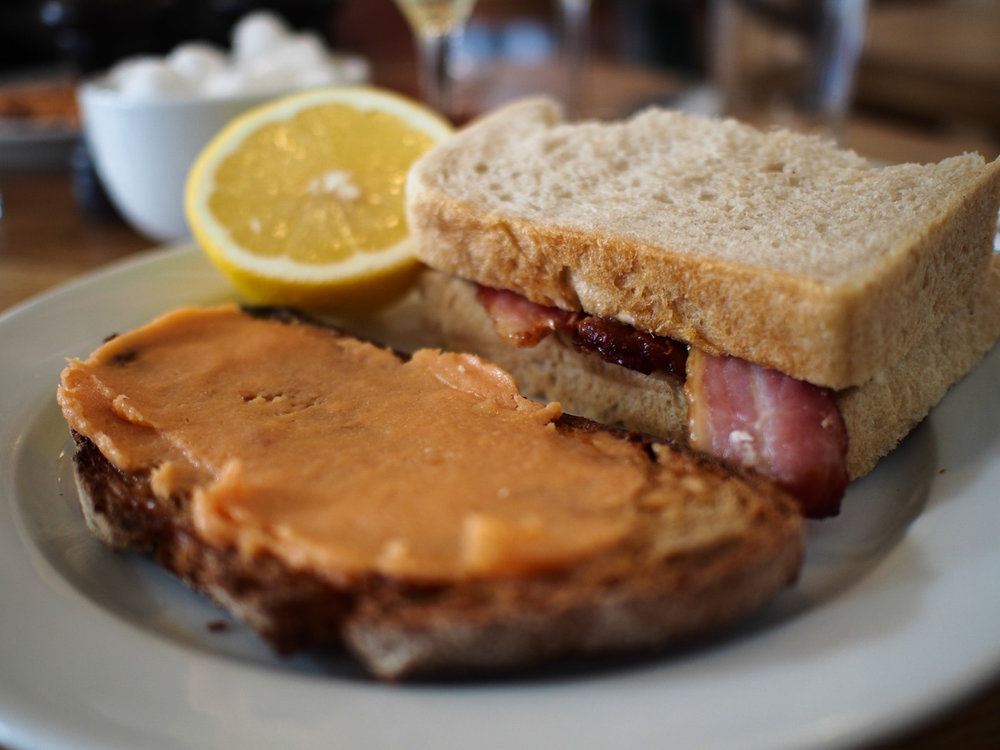 St John Maltby Street Bacon Sandwich and Smoked Cod's Roe on Toast
