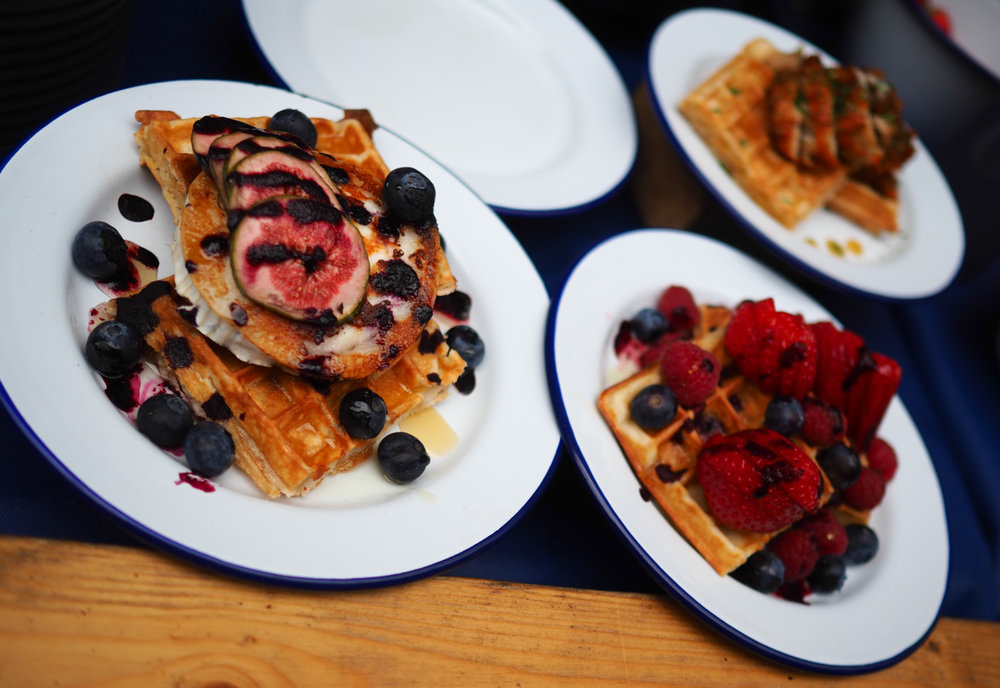 Crispy Buttermilk Waffles with ALL the toppings at Waffle On