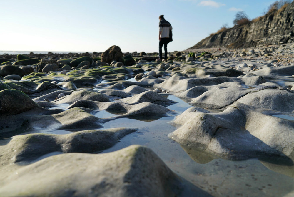 Mr Goodden searching for Fossils on Monmouth Beach