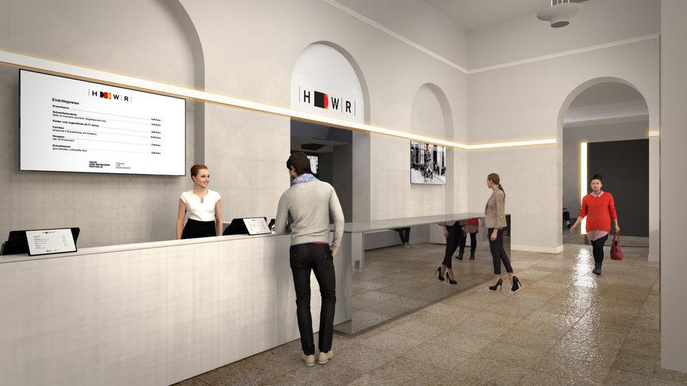 Foyer des Haus der Weimarer Republik – Forum für Demokratie / Entwurf: Michael Brown, nau2.com