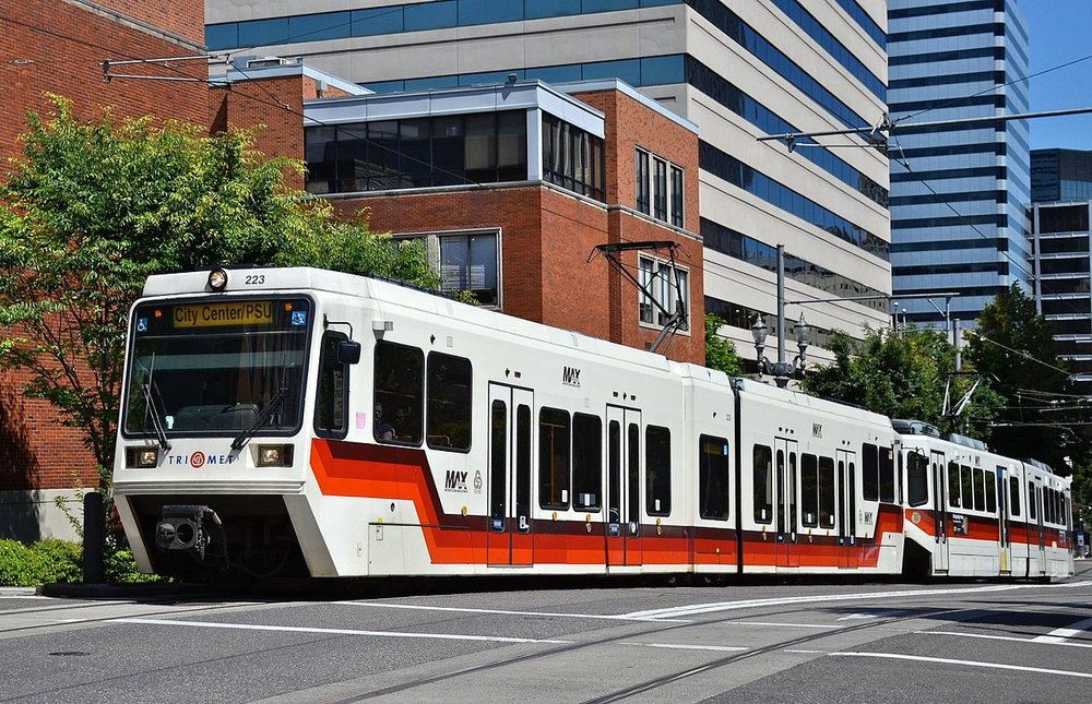 The light rail in Portland, Oregon. Light rail vehicles can run both on the street and on dedicated right-of-ways.   (Photo:  Steve Morgan   )