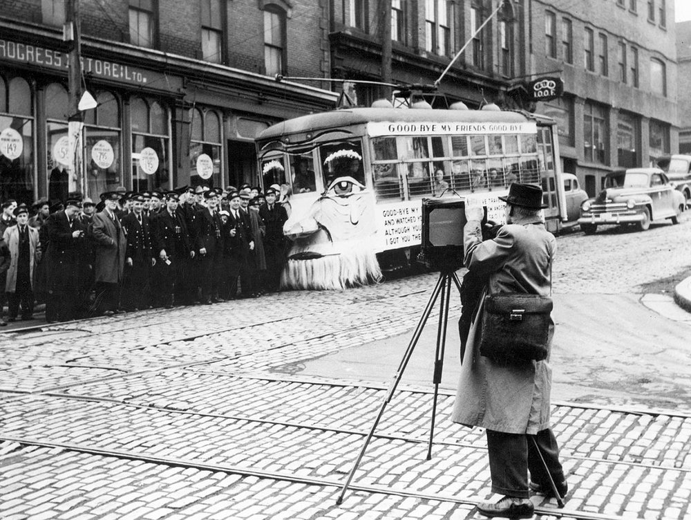 We once had light rail.  Pictured: Haligonians pose at the intersection of Barrington and Buckingham streets with the last Birney streetcar to run downtown (26 March 1949). That year, tram service in Halifax ceased entirely. (Source: Nova Scotia Archives and Records Management)