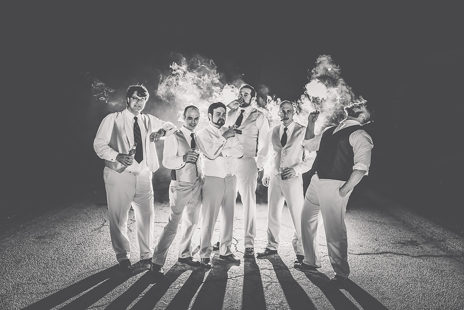 Pittsburgh Photographer - Groomsmen Smoking - Wedding