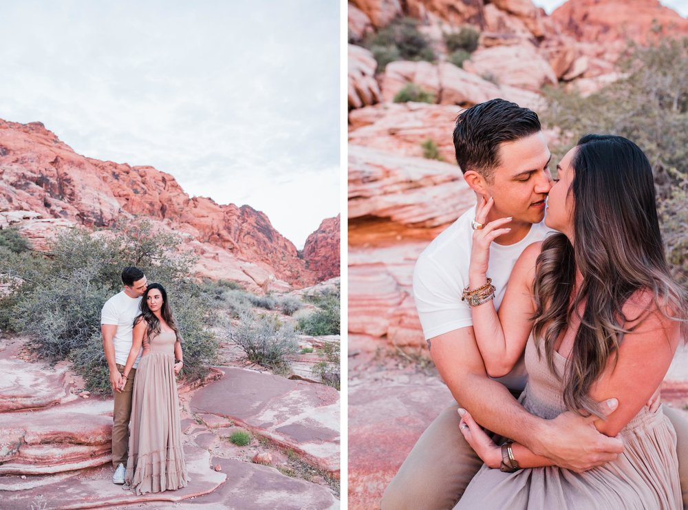 red rock canyon vegas engagement photos