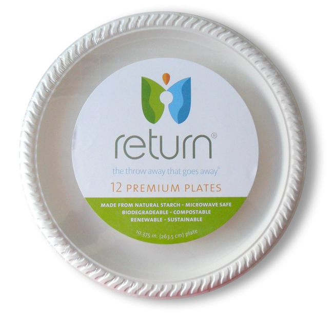 "100% Natural Starch 10 3/8"" Compostable Plates"