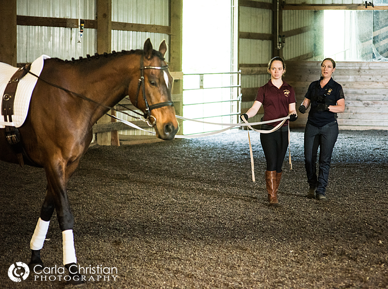 Rebekah teaching Kim H. with her Thoroughbred, Andy