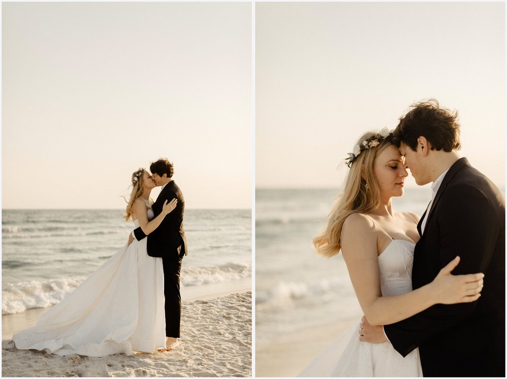 Bride and groom at the beach in Seaside, FL