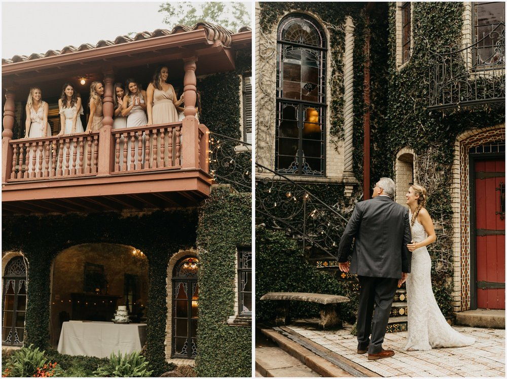 Father and bride's first look at the Gabrella Manor