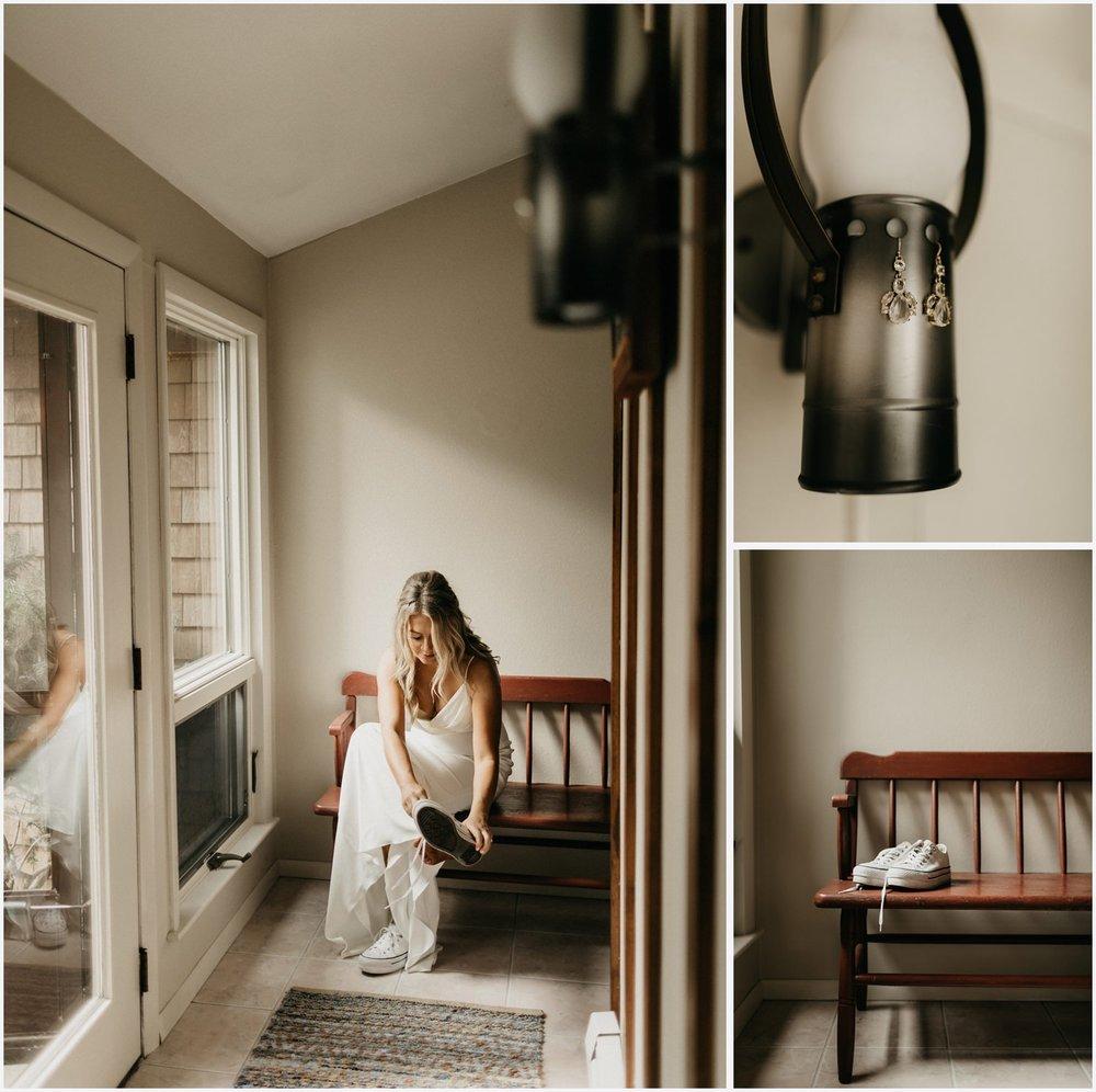 Bride getting ready in a Cape Cod airbnb