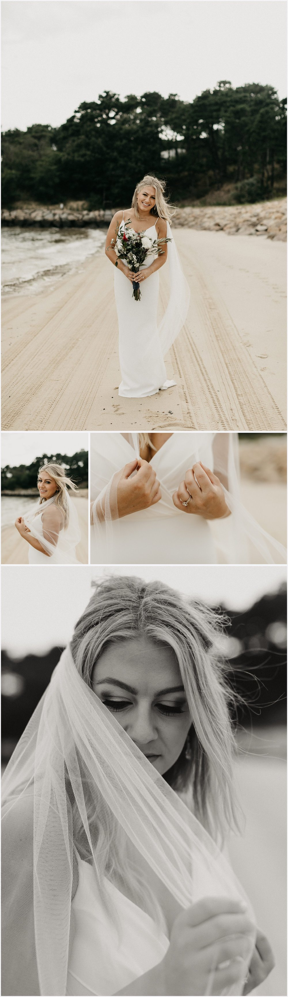 Bride at the beach by the Chequessett Yacht & Country Club