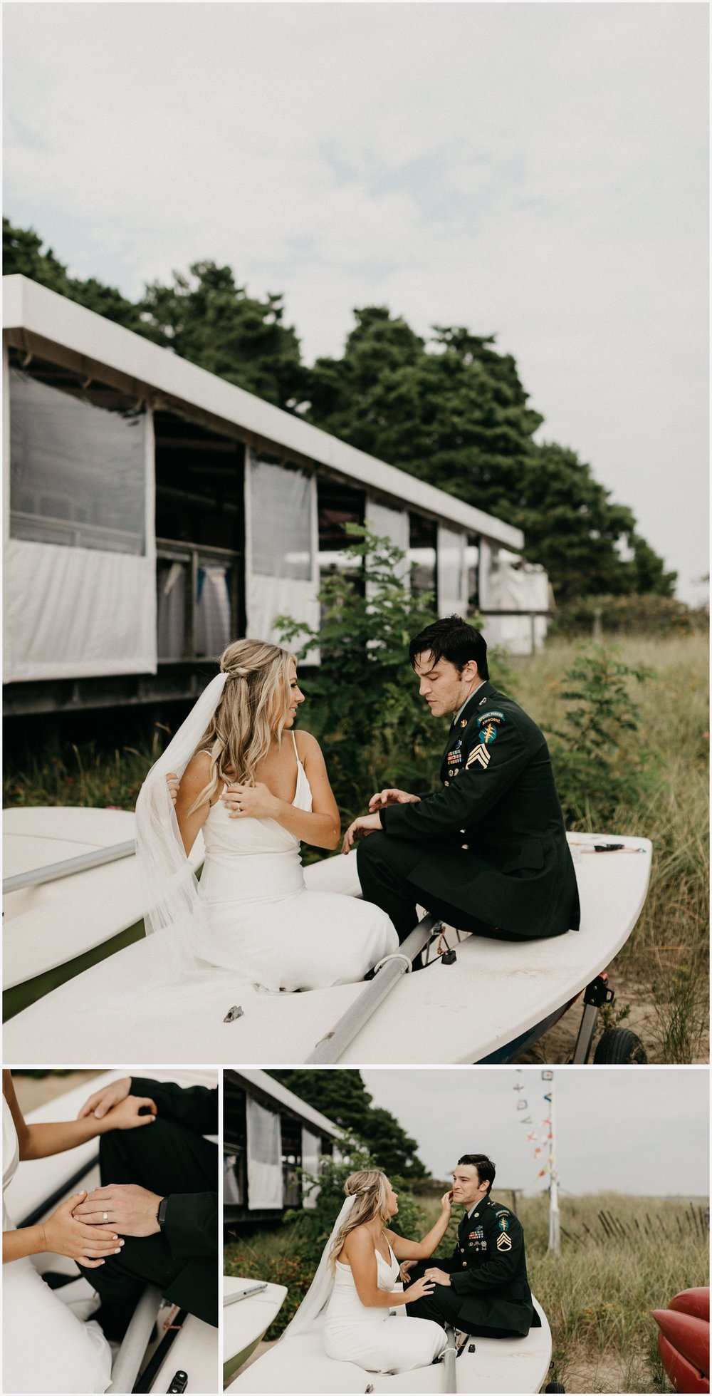 Bride and groom in a boat by the Chequessett Yacht & Country Club