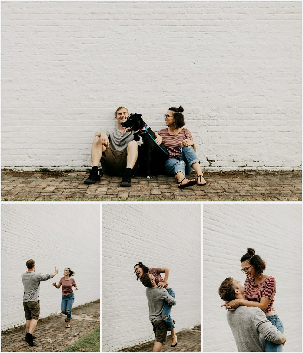 A Couple with their dog in Downtown Pensacola