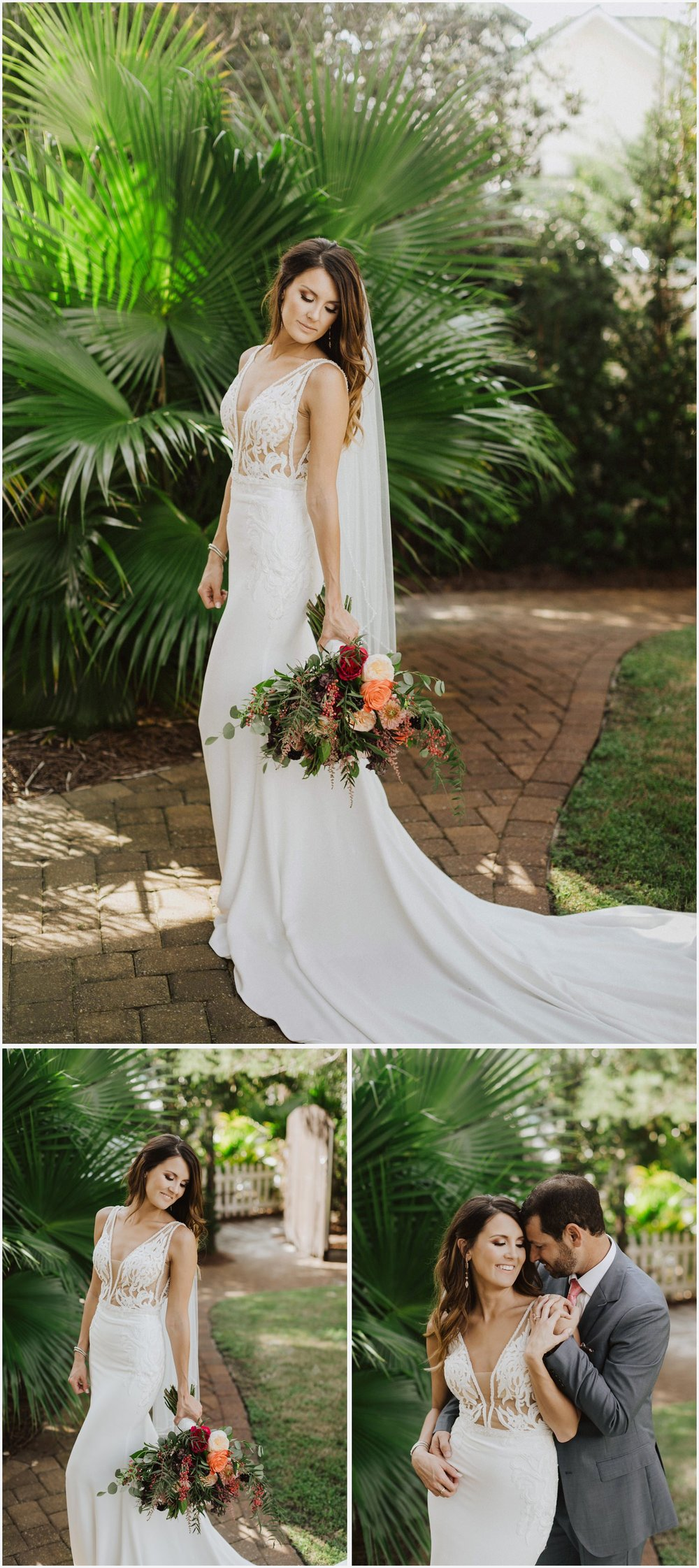 Bride and groom's wedding portraits at their Rosemary Beach house