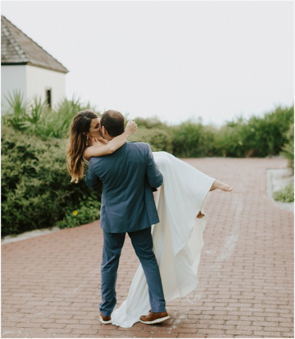 Bride and groom portraits in Rosemary Beach