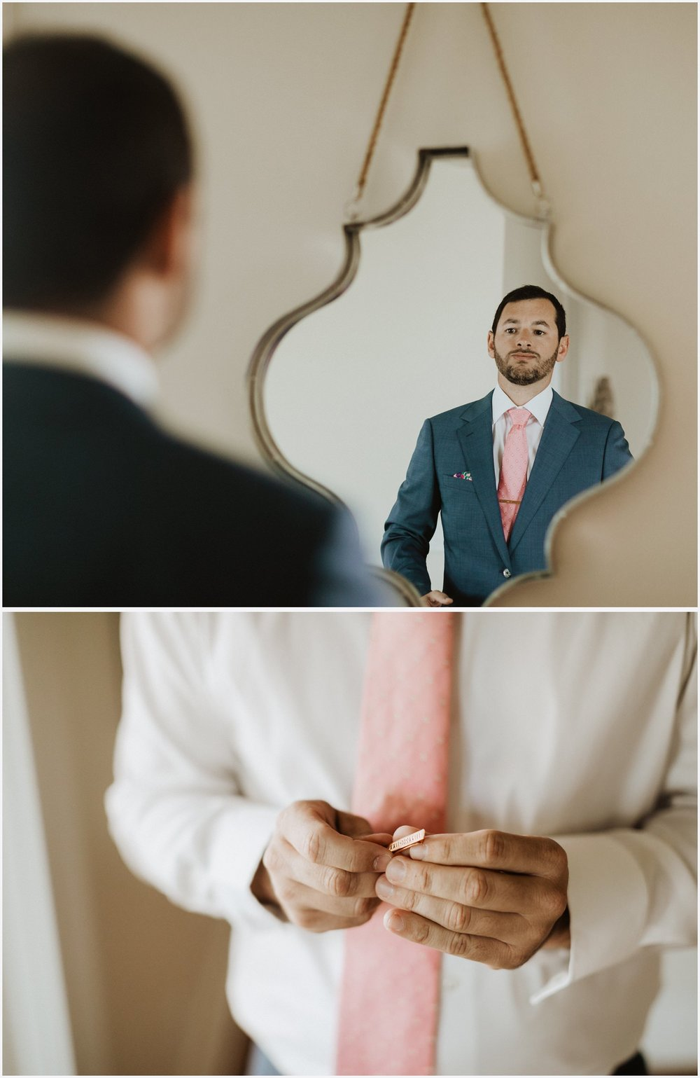 The groom getting ready in a Rosemary Beach house