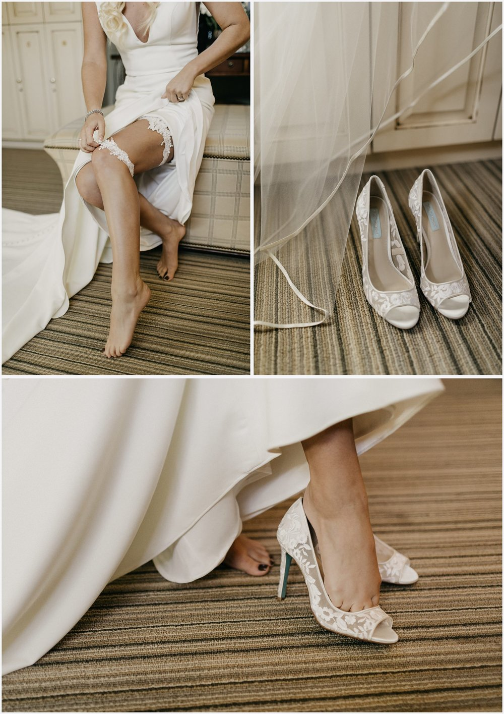 Bride putting shoes on at her Shark's Tooth Golf Club Wedding