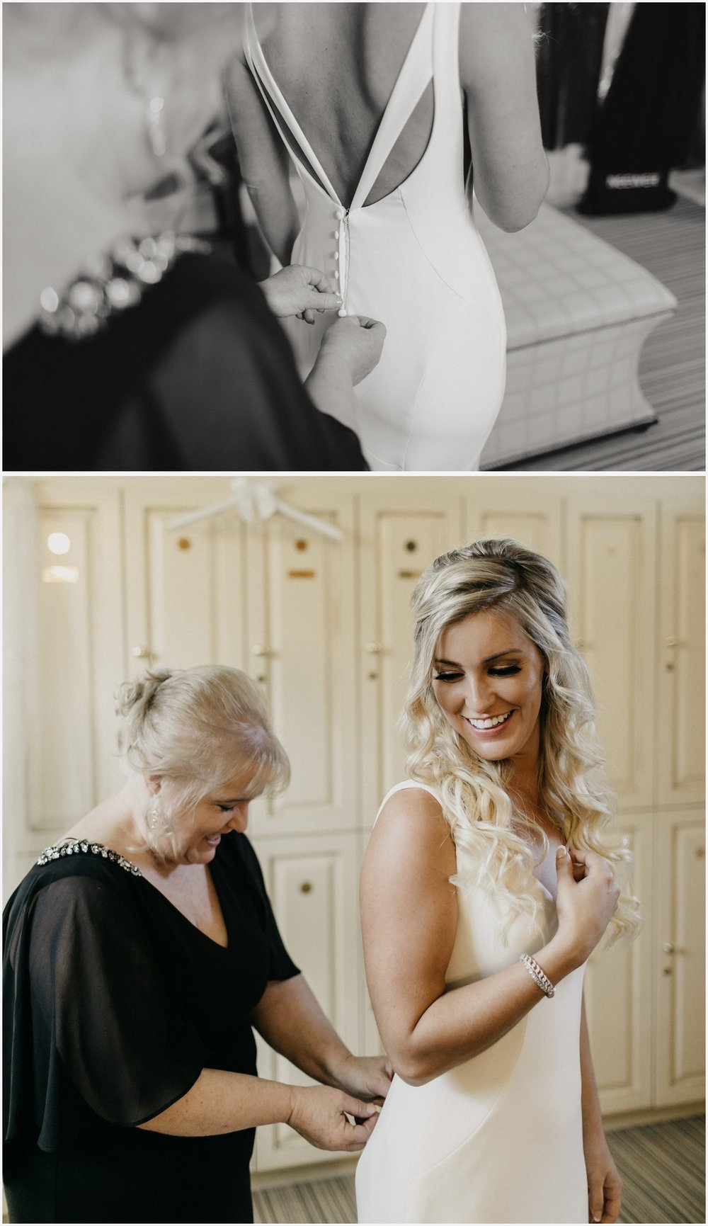 Mom helping bride get ready at the Shark's Tooth Golf Club