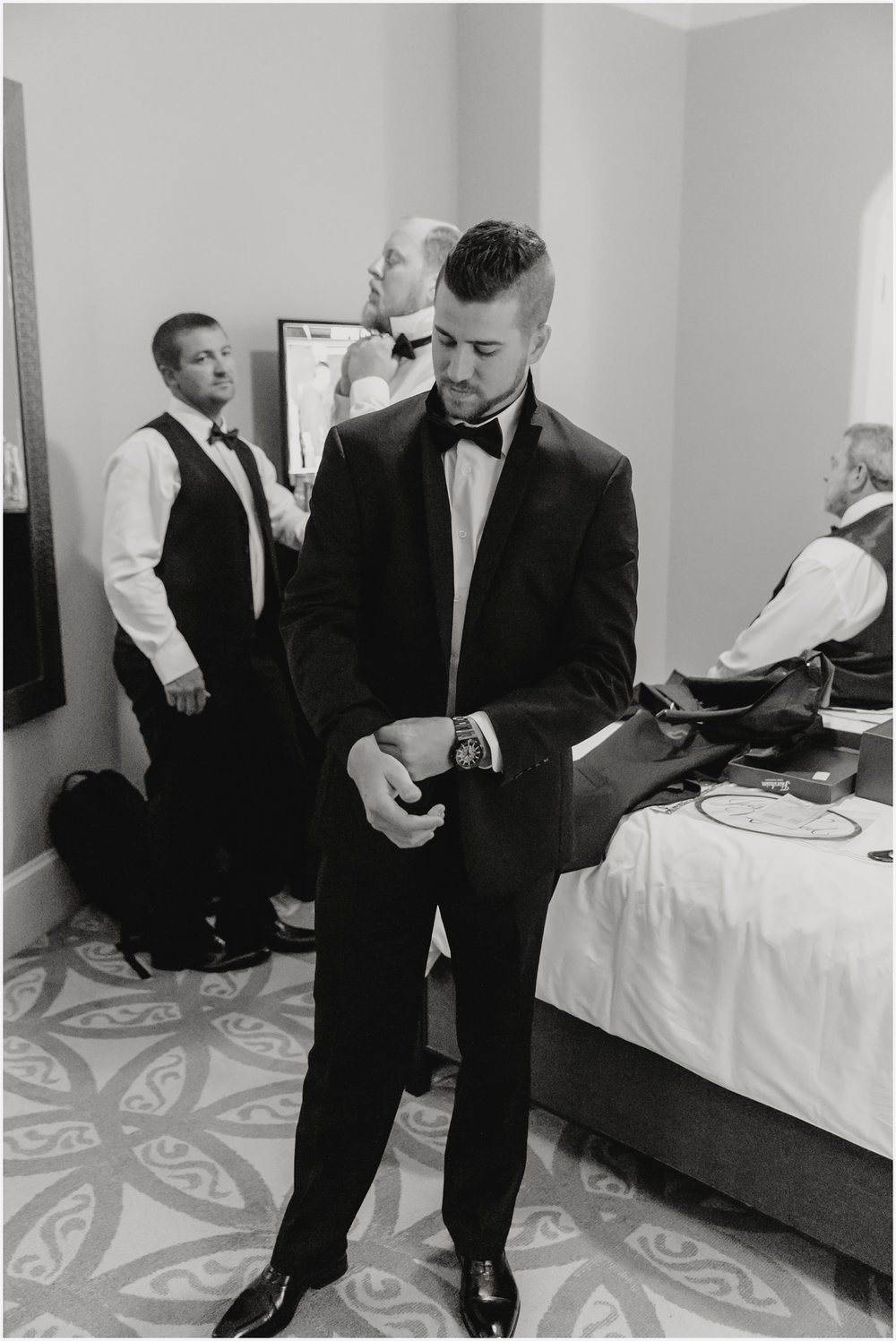 Groom getting ready at The Pearl in Rosemary Beach