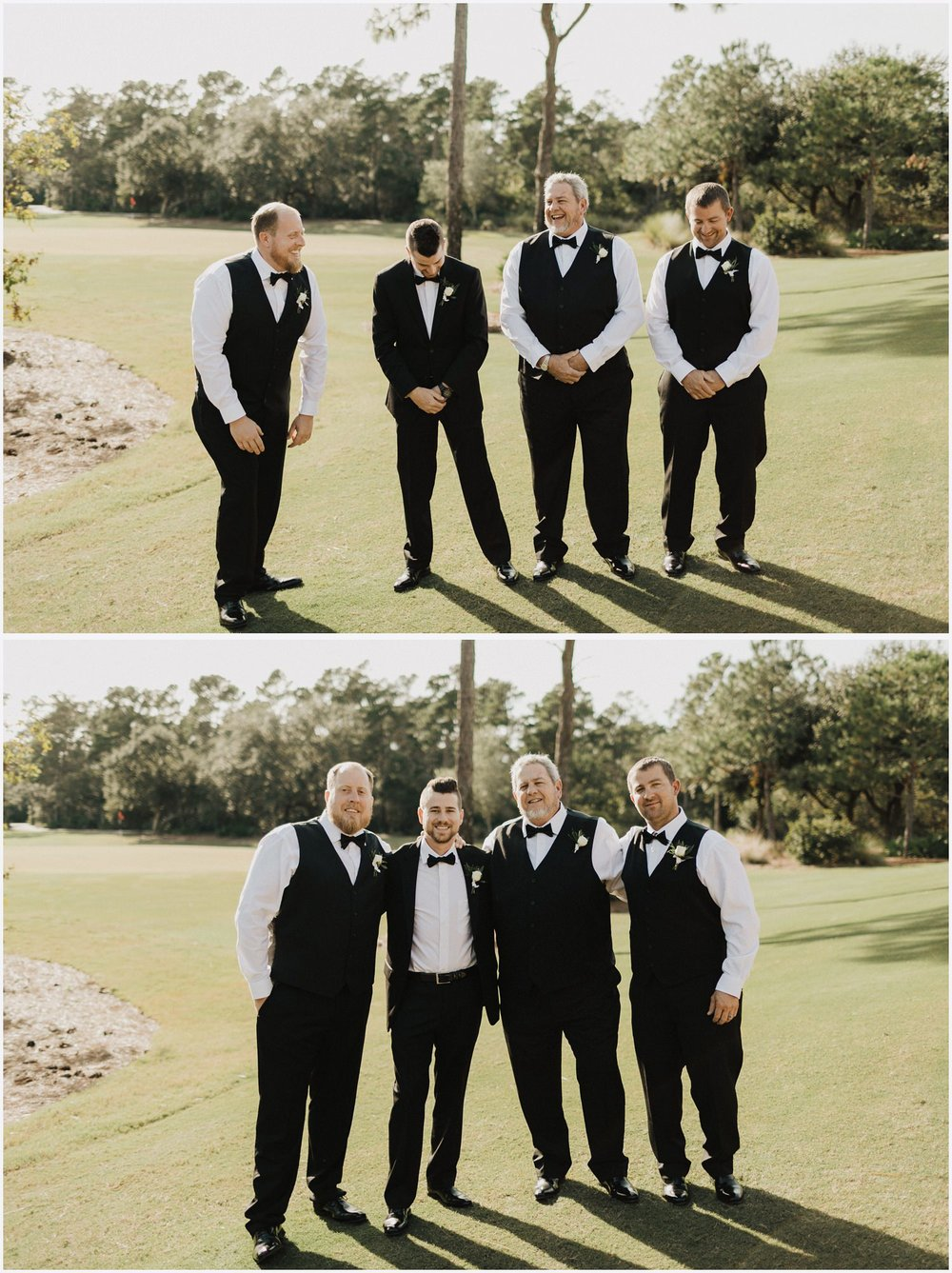 Groom and his groomsmen at the Shark's Tooth Golf Club