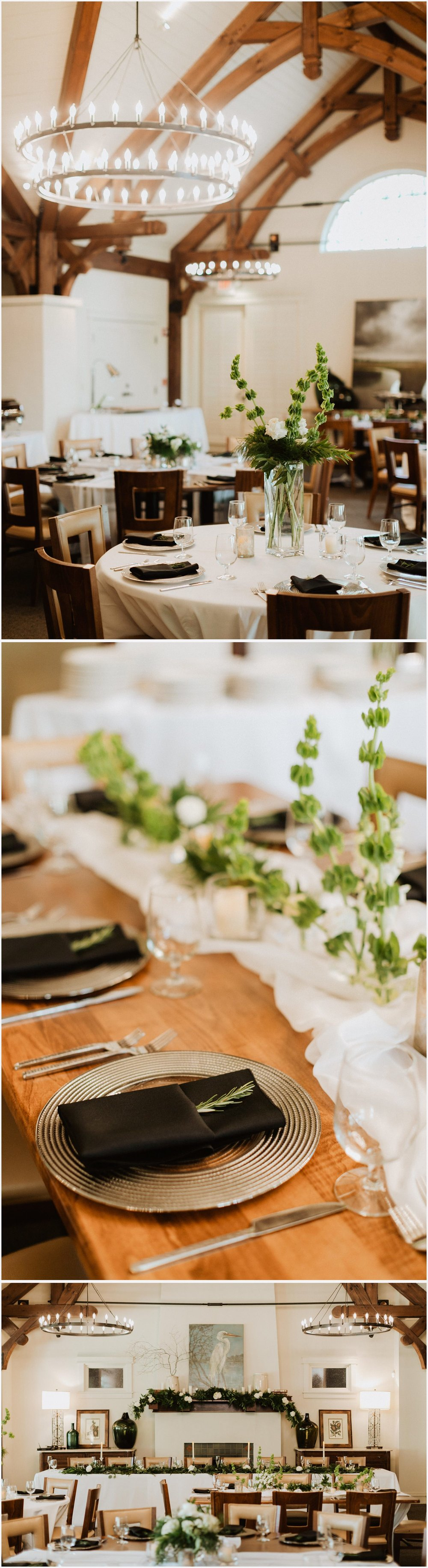 Wedding reception details at the Shark's Tooth Golf Club