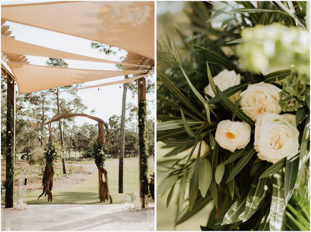 Wedding ceremony decor at the Shark's Tooth Golf Club