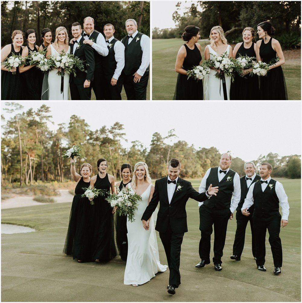 Wedding party photos at the Shark's Tooth Golf Club