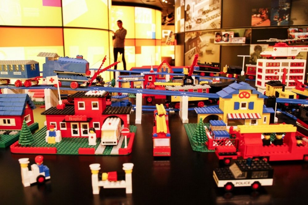 A town made from toy bricks on display at Lego's headquarters in Billund, Denmark. (Freya Ingrid Morales/Bloomberg)