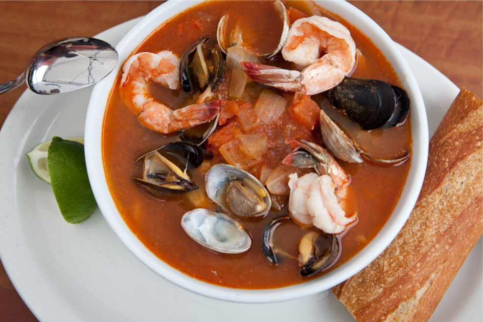 Chock full of seafood our Sopa de Mariscos is a taste of the Gulf