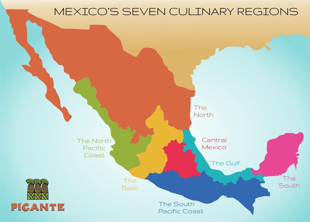 Pacific Mexico Map.Seven Regions Picante