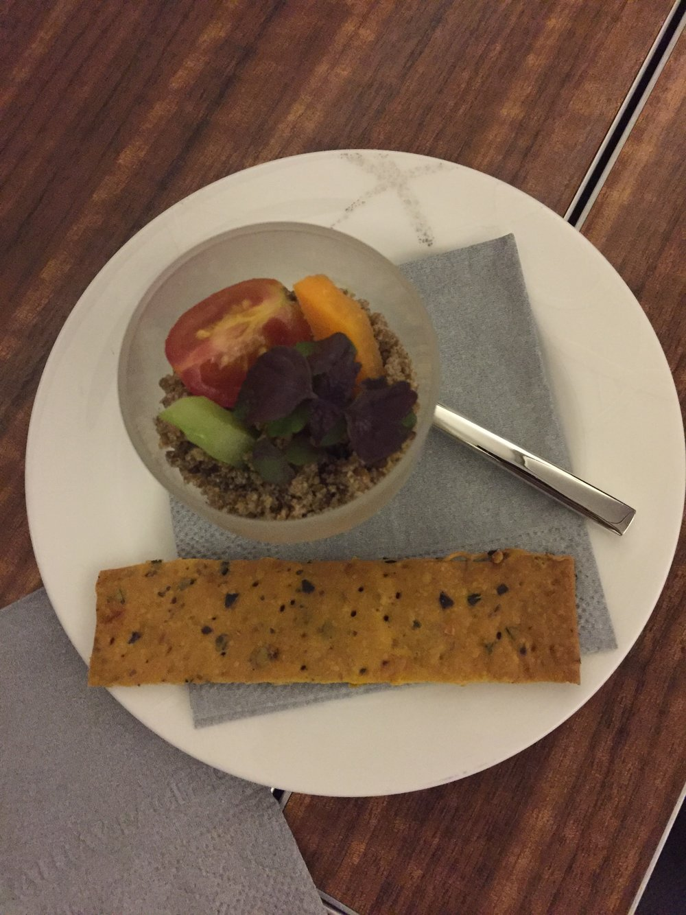 Cathay Pacific first class VGML (vegan) amuse-bouche