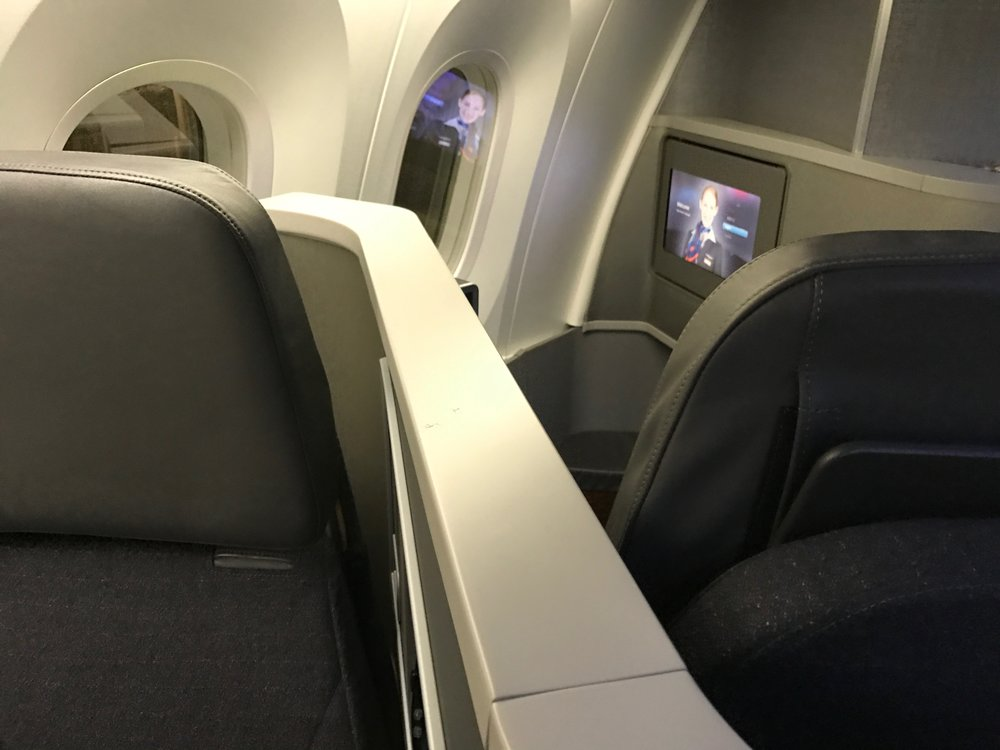 AA 787 Dreamliner Business Class forward/rear-facing seat pair