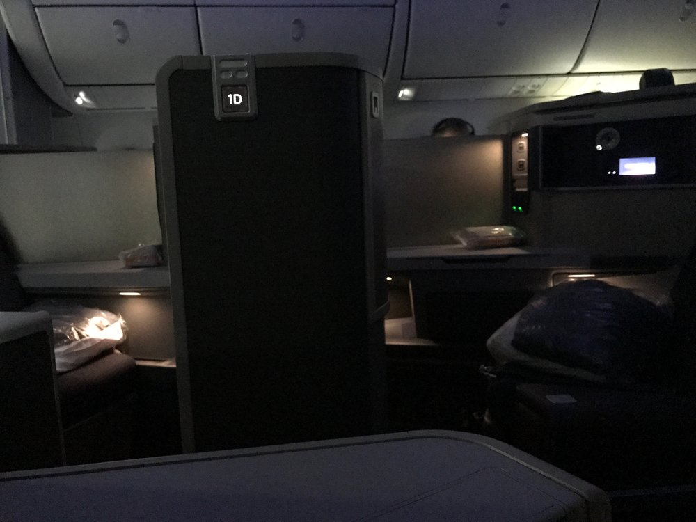 AA 787 Dreamliner Business Class suite lights