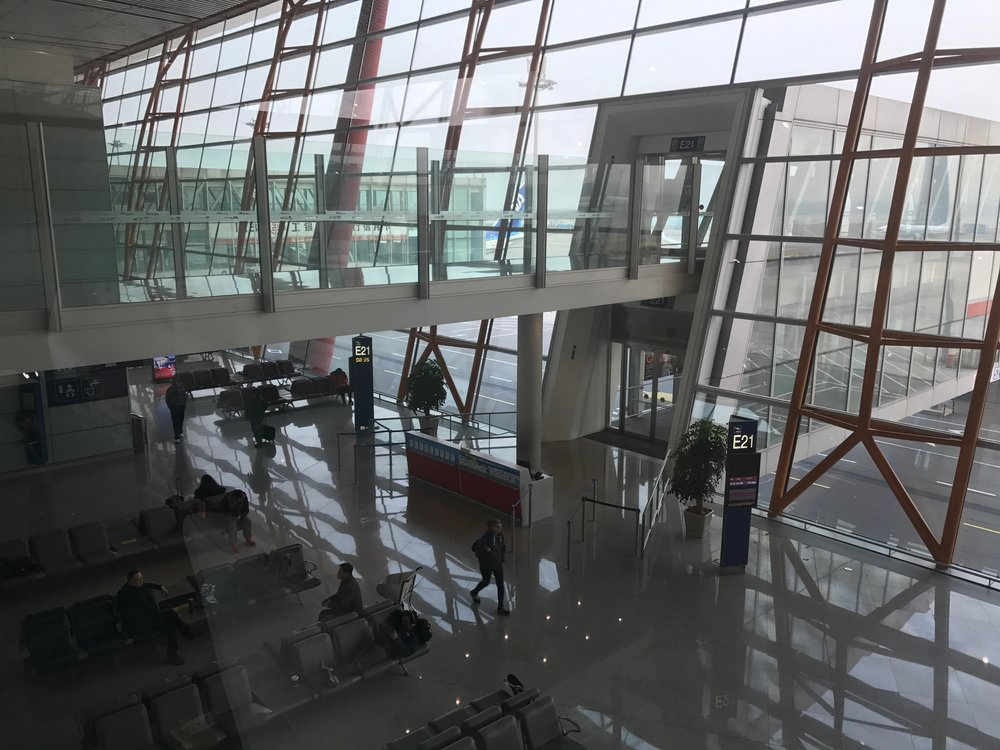 View of gate E21 from Cathay Pacific Lounge, Beijing Airport (PEK) T3E