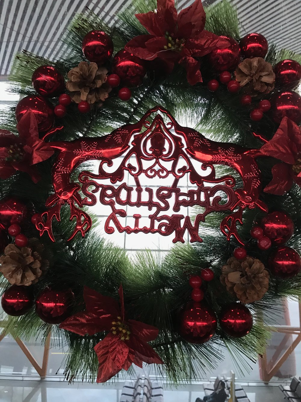 Upside-down Christmas wreath at Cathay Pacific Lounge, Beijing Airport (PEK) T3E