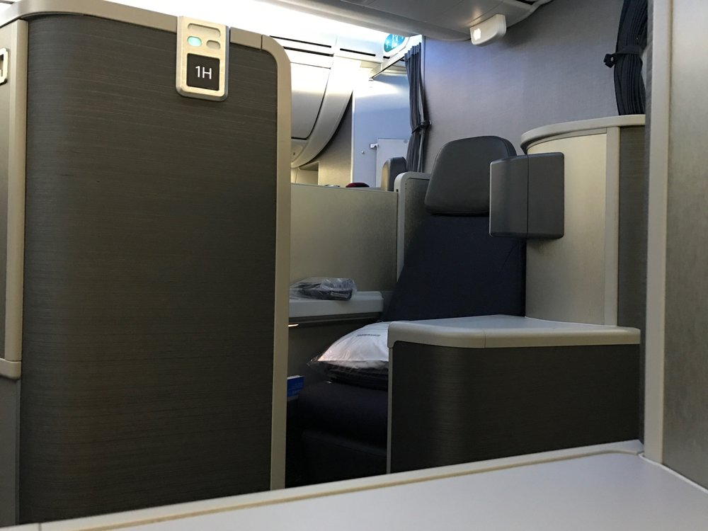 AA 787 Dreamliner business class seat - rear-facing