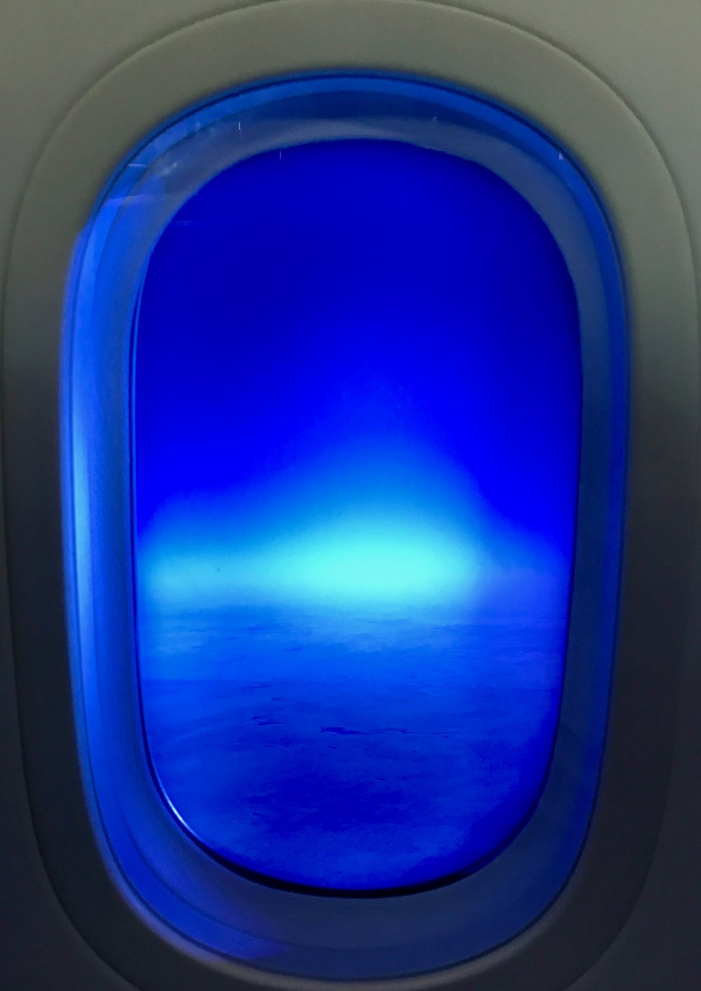 View from the dimmed 787 Dreamliner window
