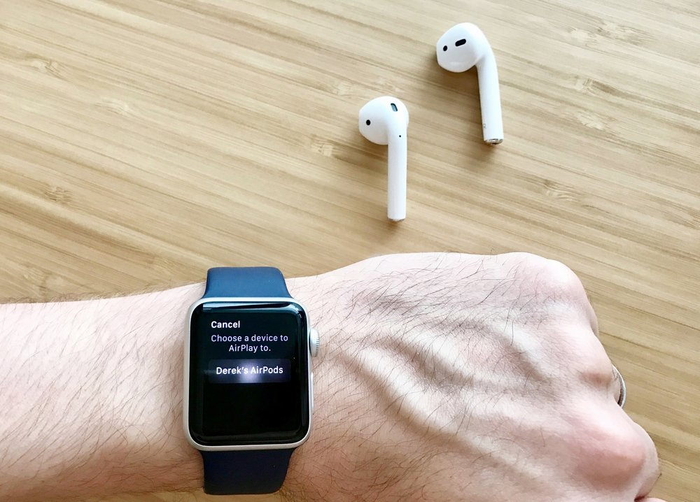 AirPods paired with Apple Watch