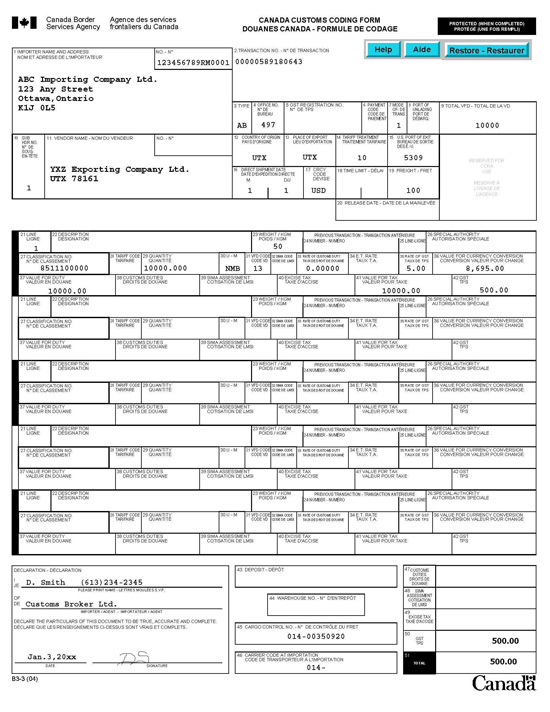 CBSA B3 Accounting form