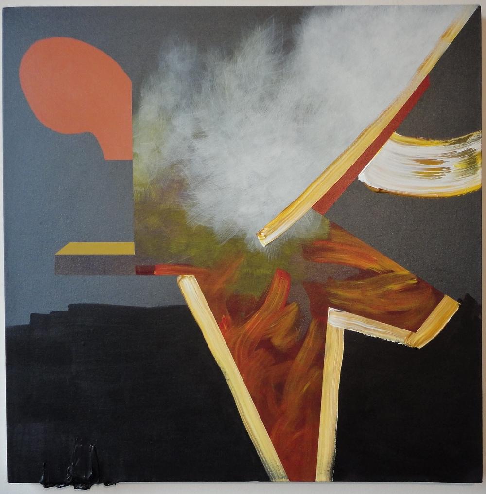 "Untitled. 02/15/16, $1,600.00, 30""Hx30""Wx1 1/2""D, metallic/acrylic/on canvas."