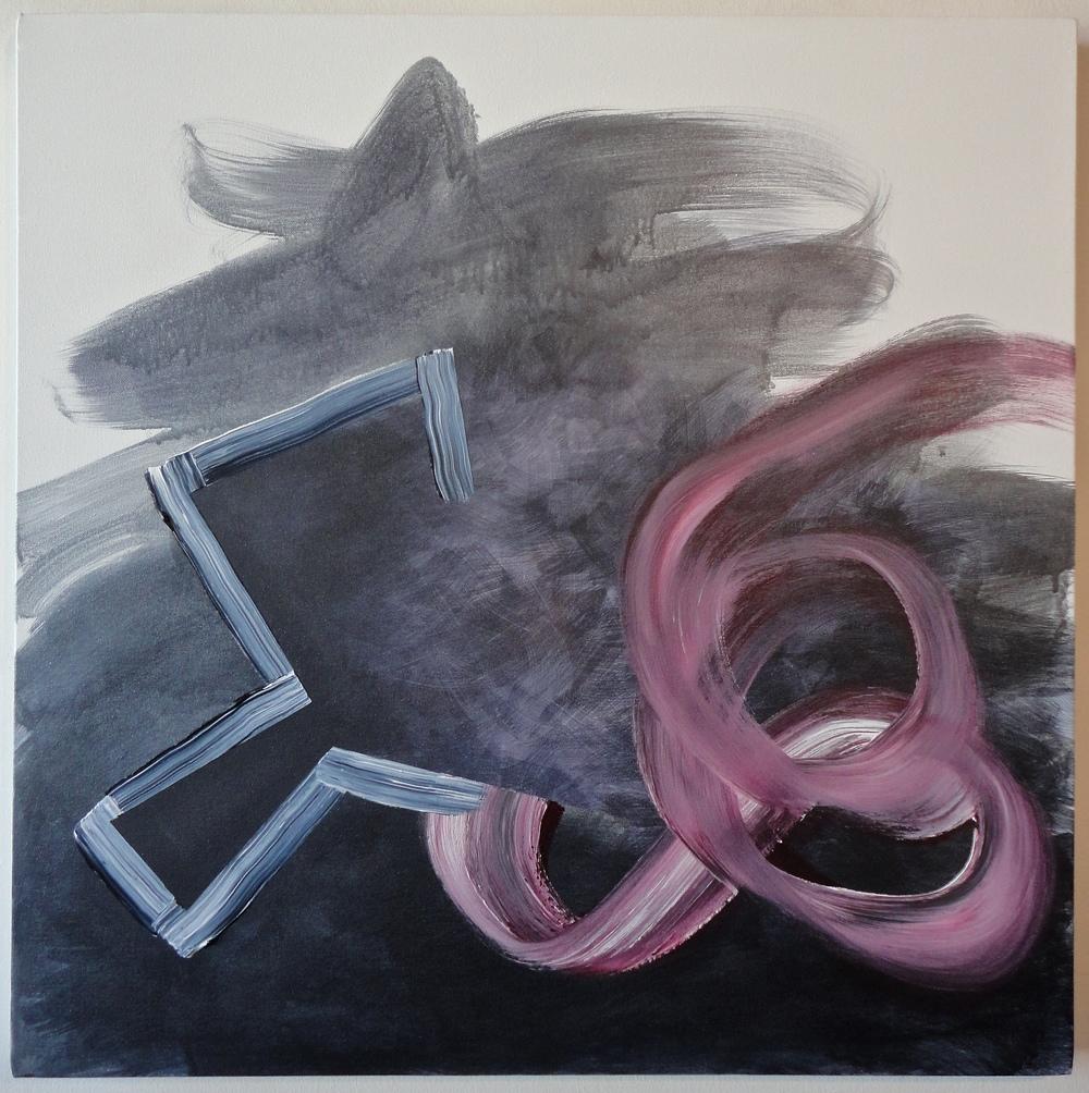 "Untitled. 09/07/15, $1,300.00, 30""Hx30""Wx1 1/2""D, metallic/acrylic/on canvas."
