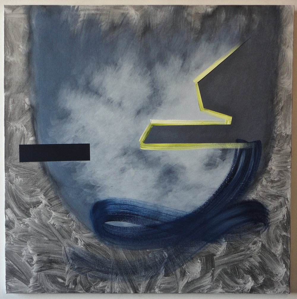 """Untitled (Then/This). 06/25/15, $2,300.00, 48""""Hx48""""x1.5""""D, charcoal/acrylic/on canvas."""
