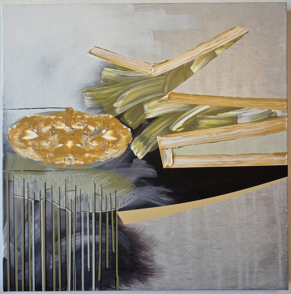 "Untitled. 09/29/16, $1,300.00, 24""Hx24""Wx1 1/2""D, acrylic/metallic paint on canvas."