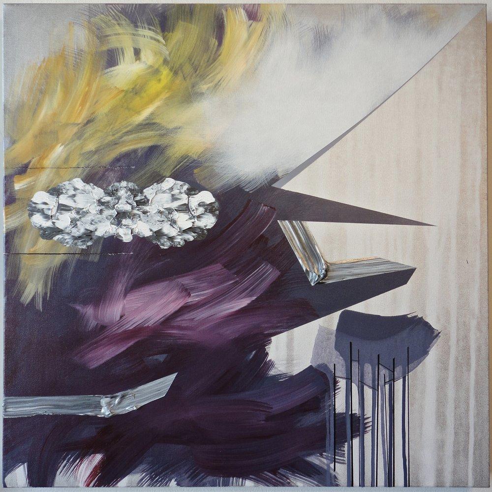 "Untitled. 01/08/17, $1,300.00, 24""Hx24""Wx1 1/2""D, acrylic/metallic paint on canvas."