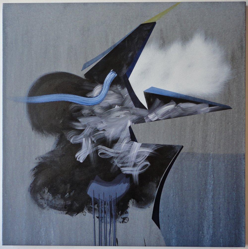 "Untitled. 01/28/17, $1,700.00, 40""Hx40""Wx1 1/2""D, acrylic/metallic paint, ink, on canvas."