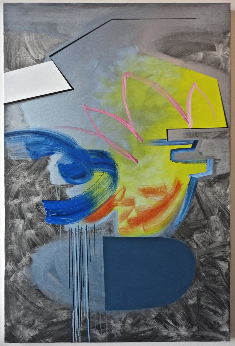 "Untitled (Over/Under). $1,500.00, 06/15/15, 60""Hx40""Wx1.5""D, acrylic/metallic paint, charcoal, on canvas."