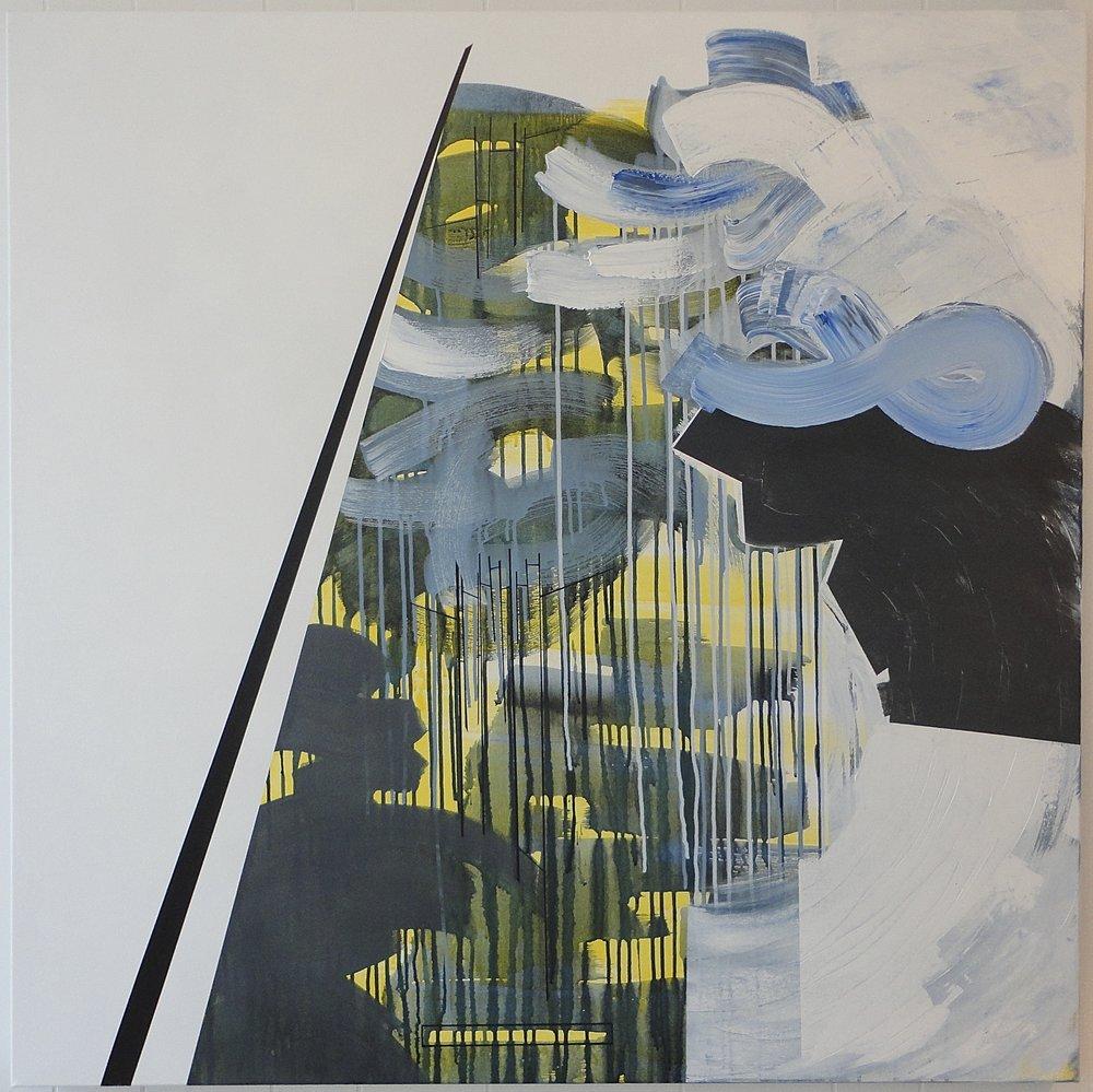 "Untitled (Epic). $2,000.00, 12/03/13, 48""Hx48""Wx1.5""D, acrylic on canvas."