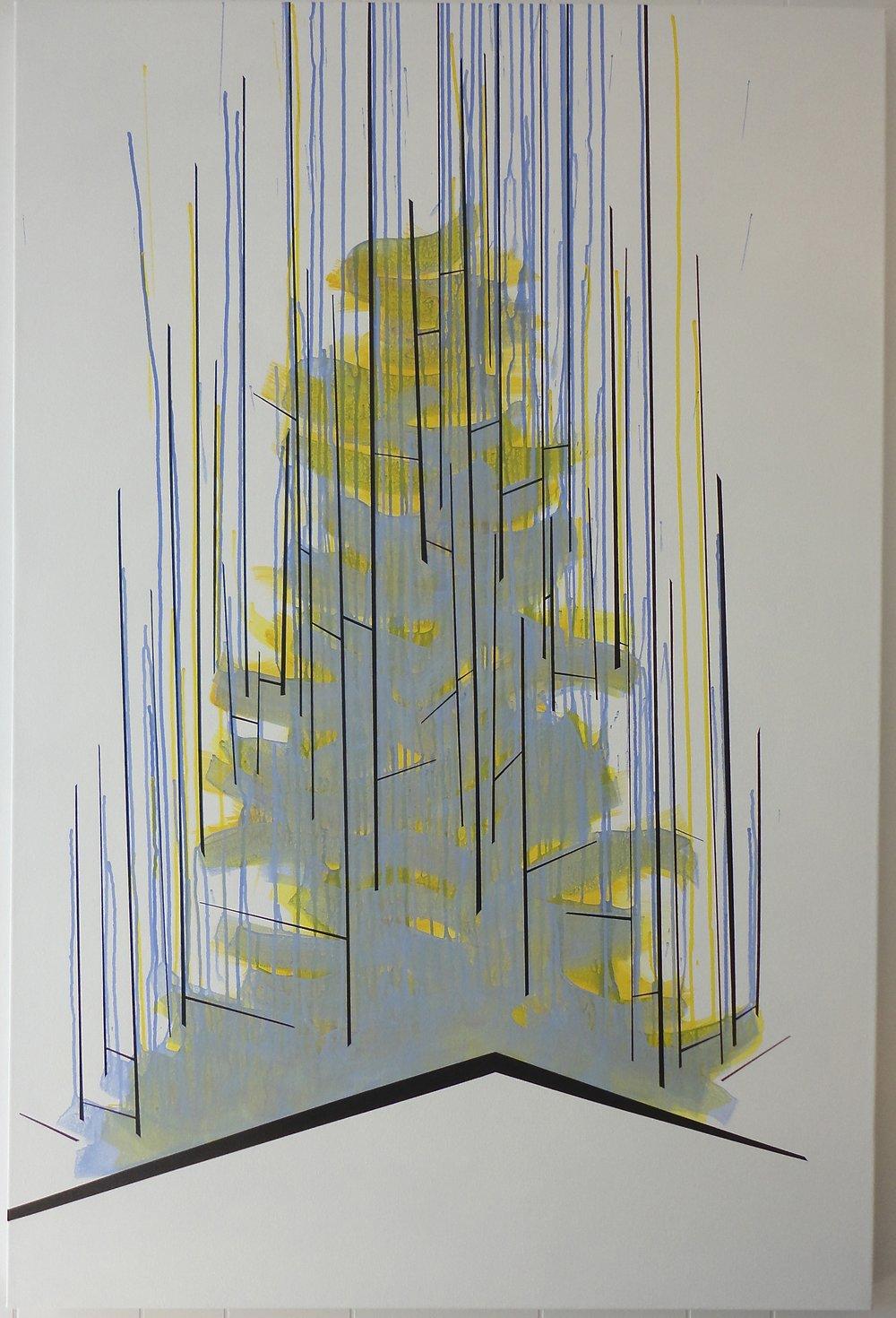 "Untitled (Thrive). $2,000.00, 2013, 60""Hx40""Wx1.5""D, acrylic on canvas."