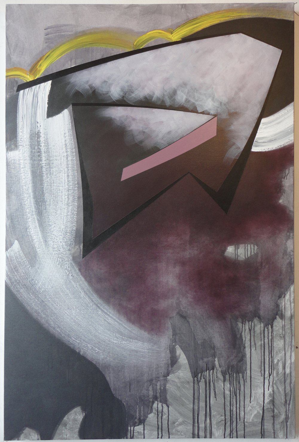 "SOLD. 2014, $1,500.00, 60""Hx40""Wx1.5""D, acrylic, charcoal, on canvas."